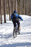 Snow biker. In winter forest. Ski resort Royalty Free Stock Image