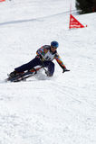 Snow biker fall on race Stock Images