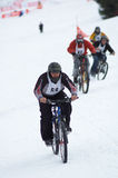 Snow bikers on race Stock Photography