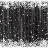 Snow and black wood backdrop Royalty Free Stock Photos