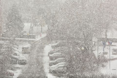 Snow blizzard in the city. Heavy snow blizzard in the city in the winter Royalty Free Stock Photography