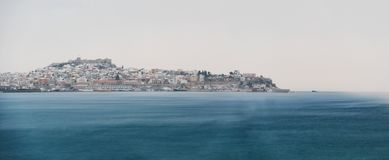 Snow blizzard city. City of Kavala during a heavy snow blizzard Royalty Free Stock Image