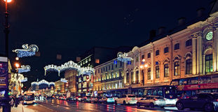 Snow blizzard in the city. Saint-Petersburg, Russia Stock Photos