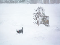 Snow blizzard of 2016 covers mailbox and entrance Stock Photography