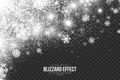 Snow Blizzard Effect On Transparent Background Vector Stock Image