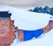 Snow blocked garage door Stock Photo
