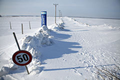 Snow-blocked road Royalty Free Stock Photo