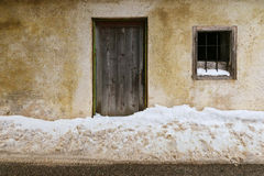 Snow blocking the entrance door during winter Royalty Free Stock Images