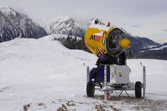 Snow blower. Ready for start in Baiului Mountains, Romania stock photography