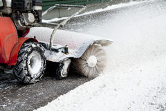 Snow blower. Snow blowing machine in the street Stock Image