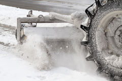 Snow blower. Machine in the street royalty free stock photography