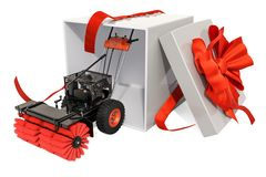 Snow blower with bow and ribbon, gift concept. 3D rendering. Snow blower, 3D rendering isolated on white background vector illustration