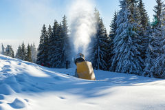 Snow blower in Bukovel Stock Photo