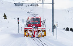 Snow Blower Clearing Railway Track Stock Photos