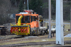 Snow-blower. A high powered machine used to keep the railway lines clear of snow and trains running on time, Austria royalty free stock image
