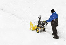 Snow blowing machine Royalty Free Stock Photography