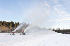 Snow blowing machines Royalty Free Stock Photos