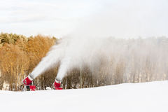 Snow blowing machines Stock Photo