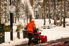Snow Blowing Rest Area Royalty Free Stock Photo
