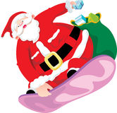 Snow board Santa Claus Royalty Free Stock Photos
