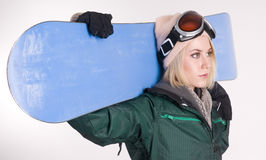 Stunning Blond Female Snow Boarder Snow Board Royalty Free Stock Photo