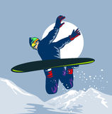 Snow boarding. Vector art on the extreme sport of Snow boarding Stock Images