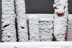 Snow on boards. Wood boards with snow outdoor Royalty Free Stock Images