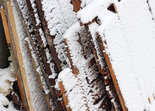 Snow on boards. Wood boards with snow outdoor Stock Images