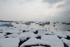 Snow and boats Stock Photo