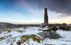 Snow on Bodmin Moor. Old mine workings at the foot of Caradon Hill at Minions on Bodmin Moor in Cornwall Royalty Free Stock Images