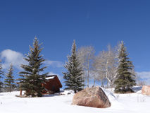 Snow bound cabin in winter landscape Stock Image