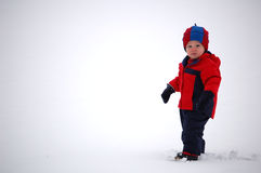 Snow Boy. Two year old boy standing in fresh snow.  He is dressed in a navy blue and red coat, snowpants,boots, hat and mittens.  He is looking towards the Stock Image