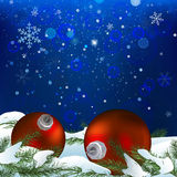 Snow branches balls Royalty Free Stock Photo