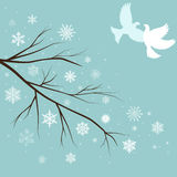 Snow branches with birds Royalty Free Stock Photos