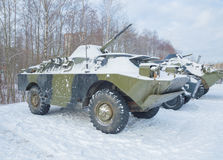The snow is BRDM machine for landing and exploration Royalty Free Stock Image