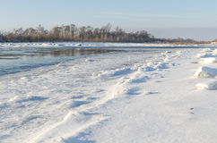 Snow break on river Stock Photography