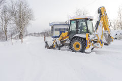 The snow breaker is working in the winter. Winter concept Royalty Free Stock Photos