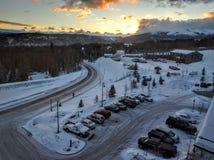 Snow on Breckenridge Colorado. Famous ski location Breckenridge Colorado with white snow royalty free stock photography