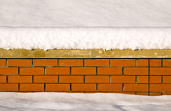 Snow on a brick wall Royalty Free Stock Photography