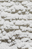 Snow on a brick wall Stock Photography