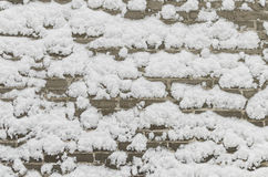 Snow on a brick wall Royalty Free Stock Image