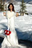 Snow Bride. Beautiful woman in white fur trimmed wedding gown holding red roses outside in the snow Royalty Free Stock Photos