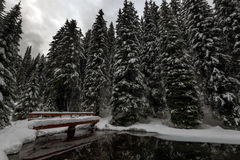 Snow Bridge. A bridge crosses over Lightning Lake into the forest.  EC Manning Park, Fraser Valley, BC, Canada Stock Photo