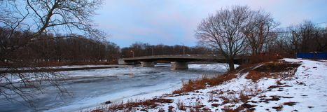 Snow and bridge, panorama stock photography