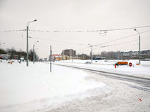 Snow in Bucharest. 11 January 2017-Bucharest,Romania. The city after the coldest night with a snow storm royalty free stock photos