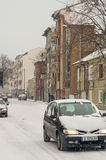 Snow in Bulgarian Pomorie, winter royalty free stock photography