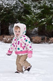 Snow Bunny. Little Girl Walking Through The Snow Royalty Free Stock Photo