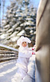 Snow bunny. A cute snow bunny on a snowy bridge Stock Photography
