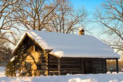 Snow Cabin Royalty Free Stock Photography