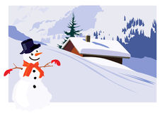 Snow cabin and snowman. A wintry illustration of a snow covered alpine cabin and a snowman Royalty Free Stock Image